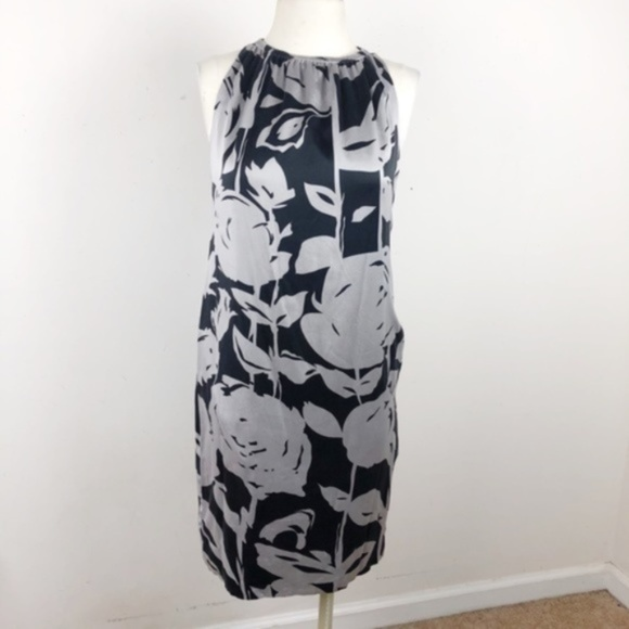 Taylor Dresses & Skirts - Taylor  Floral Silk Dress Black and Gray Size 4